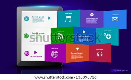 Tablet PC with creative folded paper modern template design, with cloud of colorful application icons Vector illustration - stock vector