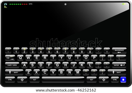 Tablet PC with empty screen with keyboard visible