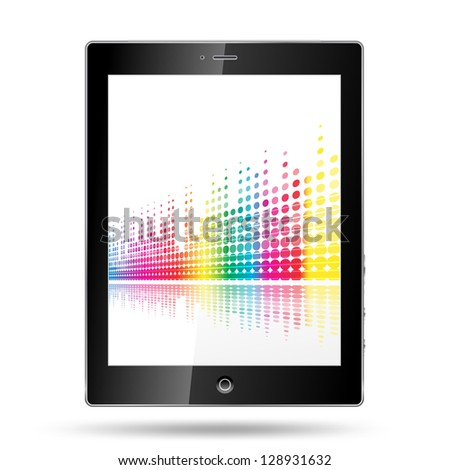 tablet pc with equalizer colorful lines - stock vector
