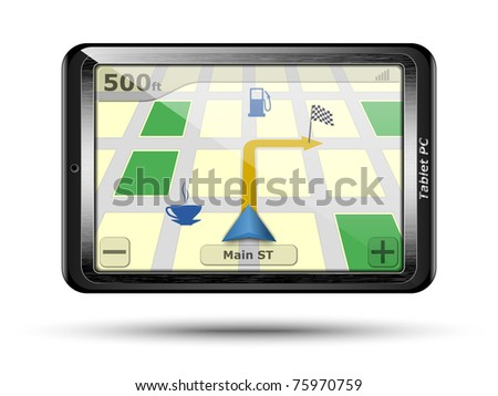Tablet PC with GPS in original design. Vector - stock vector