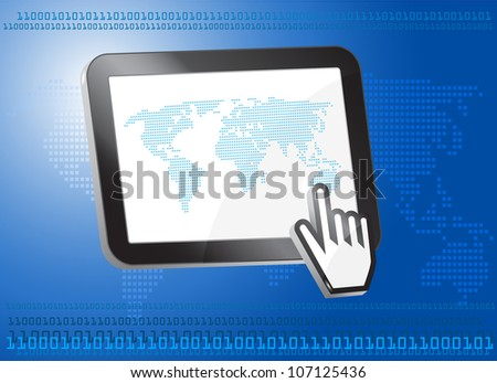 Tablet PC with world map, binary concept,3d - stock vector