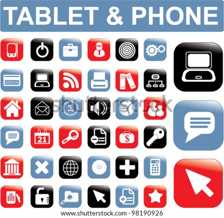 tablet & phone buttons, icons set, vector - stock vector
