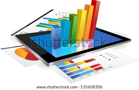 Tablet screen with graph and a paper with statistic charts. - stock vector