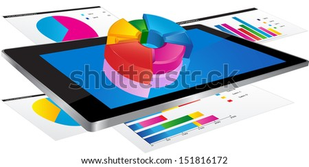 Tablet screen with pie chart and a paper with statistic charts - stock vector