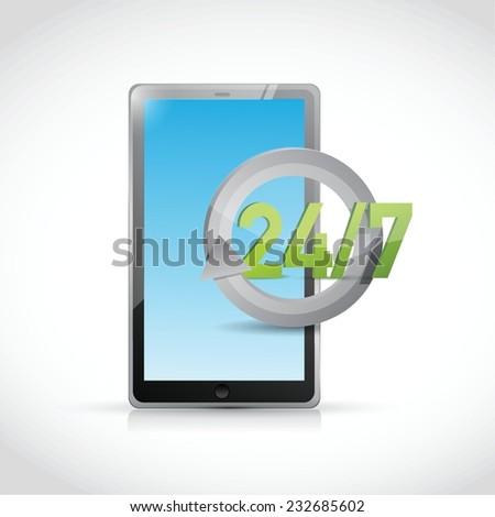 tablet 24 7 service illustration design over a white background - stock vector