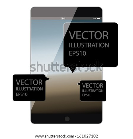 tablet smart phone concept design with black label. vector illustration - stock vector