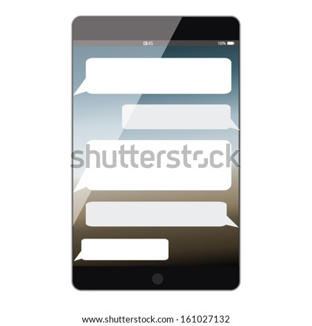 tablet smart phone concept design with bubbles sms. vector illustration - stock vector