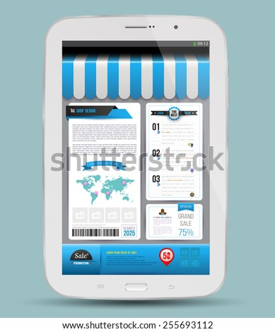 Tablet with advertising. Vector illustration. Shopping online concept. - stock vector