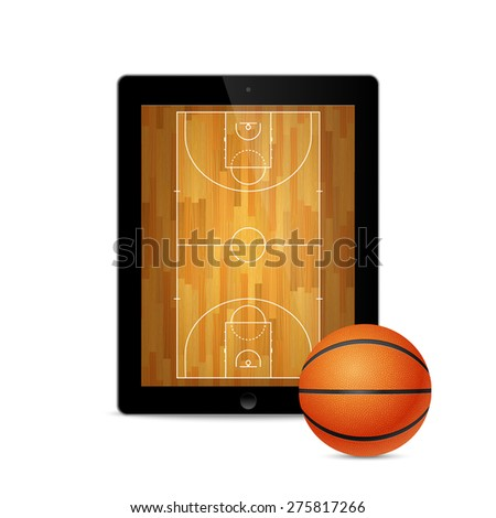 Tablet with basketball ball and court on the screen. Vector EPS10 illustration.  - stock vector