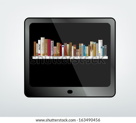 Tablet with book shelf. - stock vector