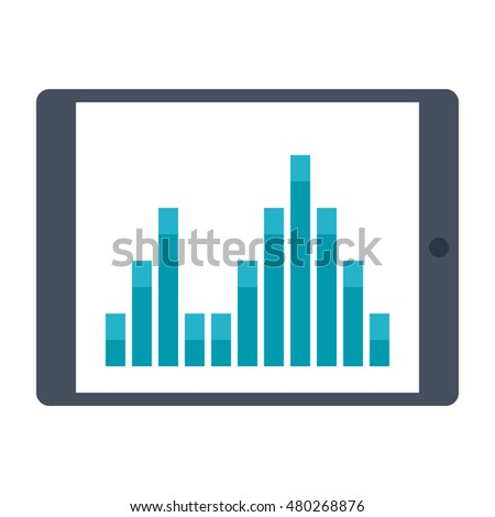 Tablet with financial analysis and statistics on screen.