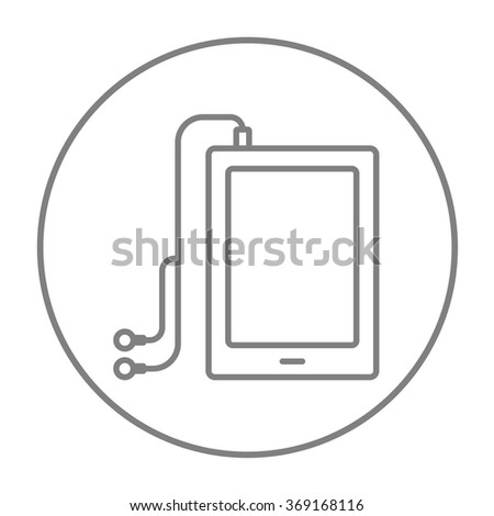 Tablet with headphones line icon.