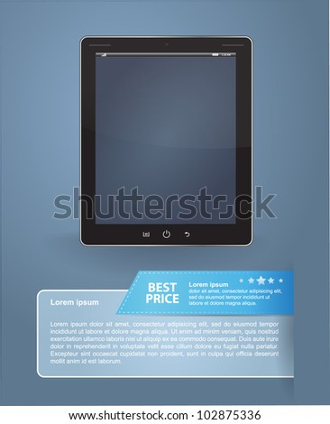 Tablet with information for sale - stock vector