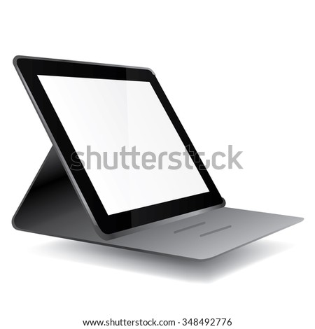tablet with isolated screen in gray carrying case - stock vector