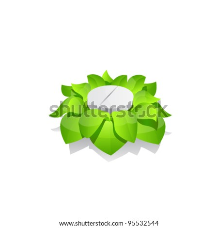 Tablet With Leaves, Isolated On White Background - stock vector
