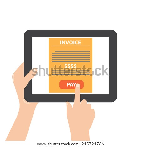 tablet with online payment - stock vector