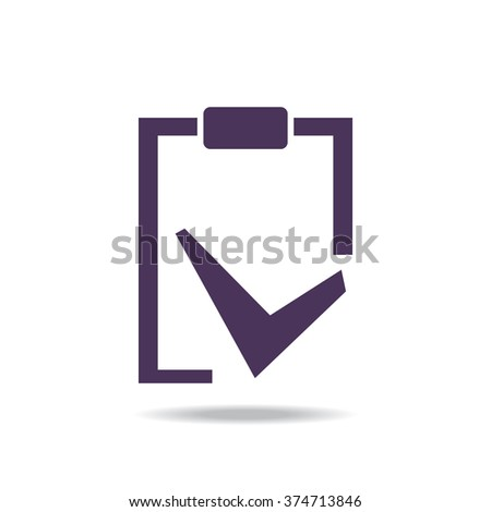 tablet with paper icon, vector illustration. Flat design style - stock vector