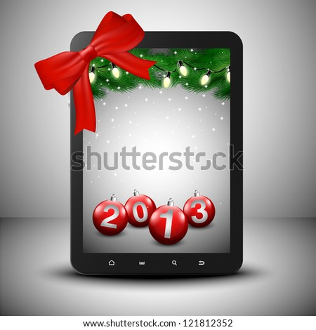 Tablet with pine trees and ornaments in Christmas spirit. - stock vector