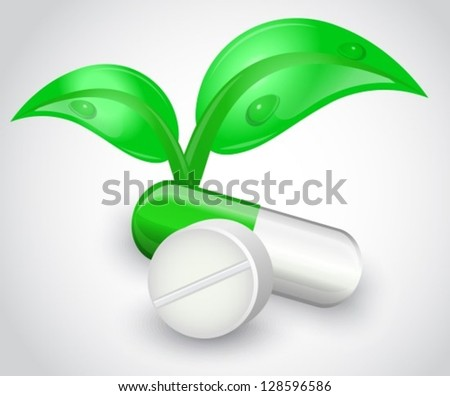 Tablets and capsules on a white background. Capsule of shiny leaves grow - stock vector