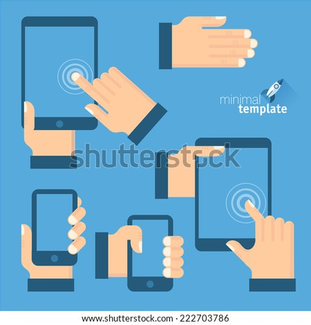 Tablets and gadgets with touch-screen display held in hand. Touch screen gestures icon set. - stock vector
