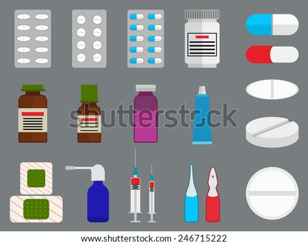Tablets and medicine (drugs) flat icons set - stock vector