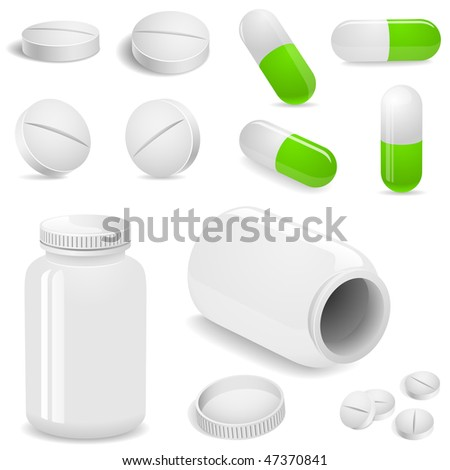 Tablets and pills vector set isolated on white. - stock vector
