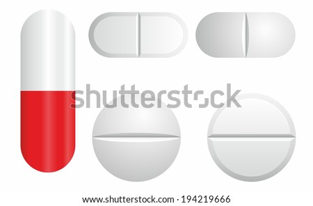 Tablets and pills vector set isolated on white background.