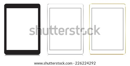 tablets in black, white and gold color with blank screen, ipad style. - stock vector
