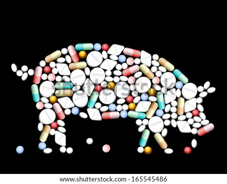 Tablets, pills and capsules, that shape a pig. - stock vector
