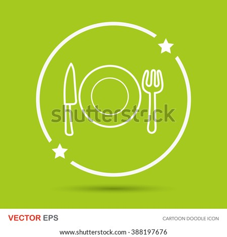 tableware doodle - stock vector