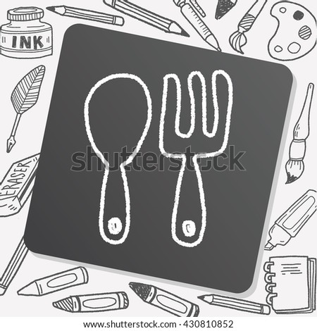 tableware doodle drawing - stock vector