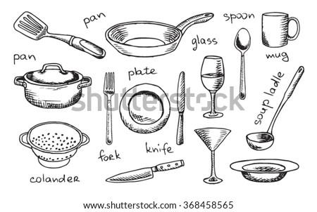Tableware Plate Kitchen White Vector Silverware Utensil Spoon