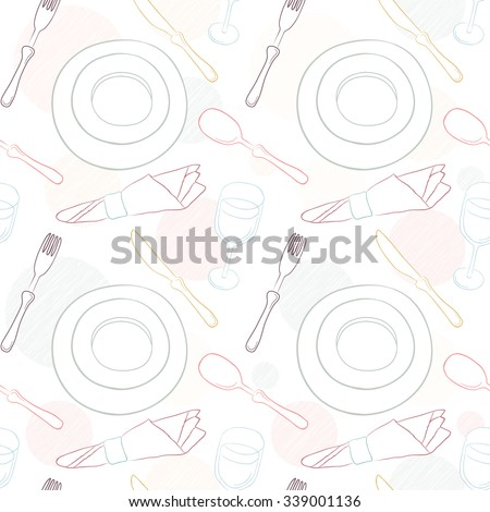 Tableware seamless pattern. Hand-drawn various dishware such as spoon, fork, knife, cups and plates at a table. Vector background. - stock vector
