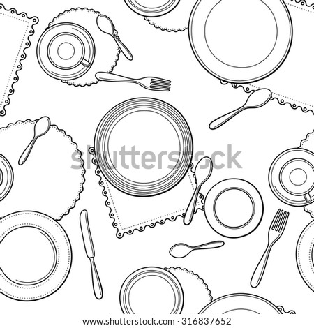 Tableware seamless pattern. Hand-drawn various dishware such as spoon, fork, knife, cups, plates at a table. Black and white colors. Vector background.