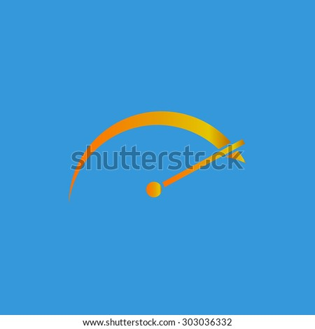 Tachometer. Flat web icon or sign isolated on grey background. Collection modern trend concept design style vector illustration symbol - stock vector