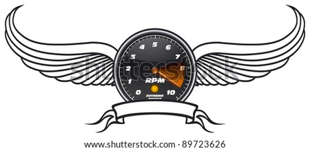 tachometer shield with wings and banner