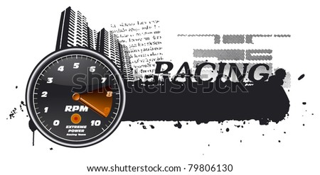 tachometer with city and grunge banner - stock vector