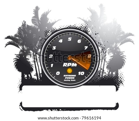 tachometer with grunge banner and summer background - stock vector