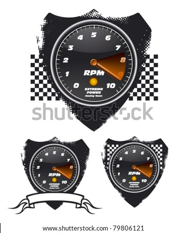 tachometer with shields - stock vector