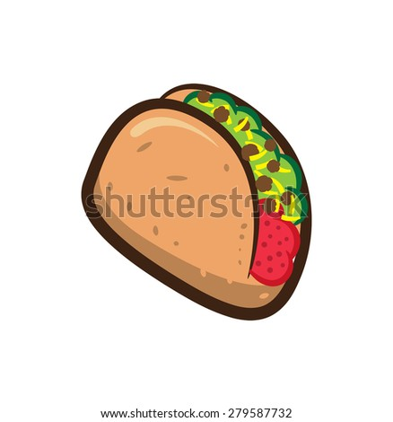 taco isolated on white background - stock vector