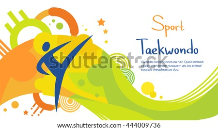 Taekwondo Athlete Sport Game Competition Flat Vector Illustration - stock vector