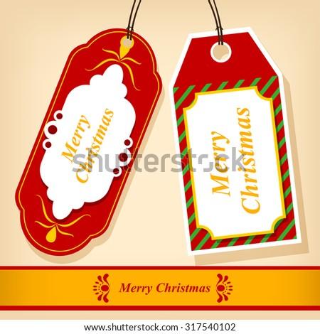 Tag Christmas Vector Template. - stock vector