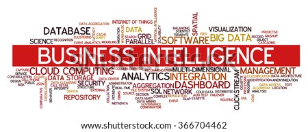 Tag cloud containing words related to big data, cloud computing, business intelligence, clickstream analytics, data management and database technologies - stock vector