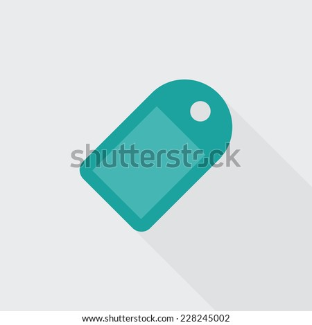 Tag flat icon. Modern flat icons with long shadow effect in stylish colors. Icons for Web and Mobile Application. EPS 10. - stock vector