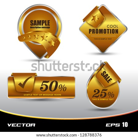 Tag gold for promotions , sale - stock vector