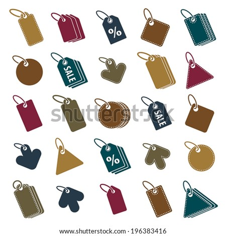Tag icons isolated on white background vector set, retail theme simplistic symbols vector collections. - stock vector
