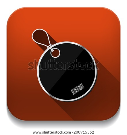Tag label icon With long shadow over app button - stock vector