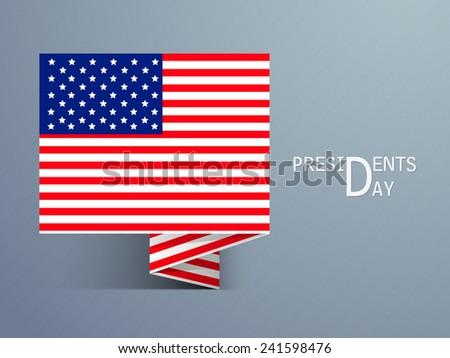 Tag or label with United State of American flag for Presidents Day celebration on shiny blue background. - stock vector