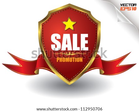 Tag sale red shield - stock vector