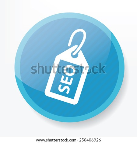 Tag seo on blue button,clean vector - stock vector